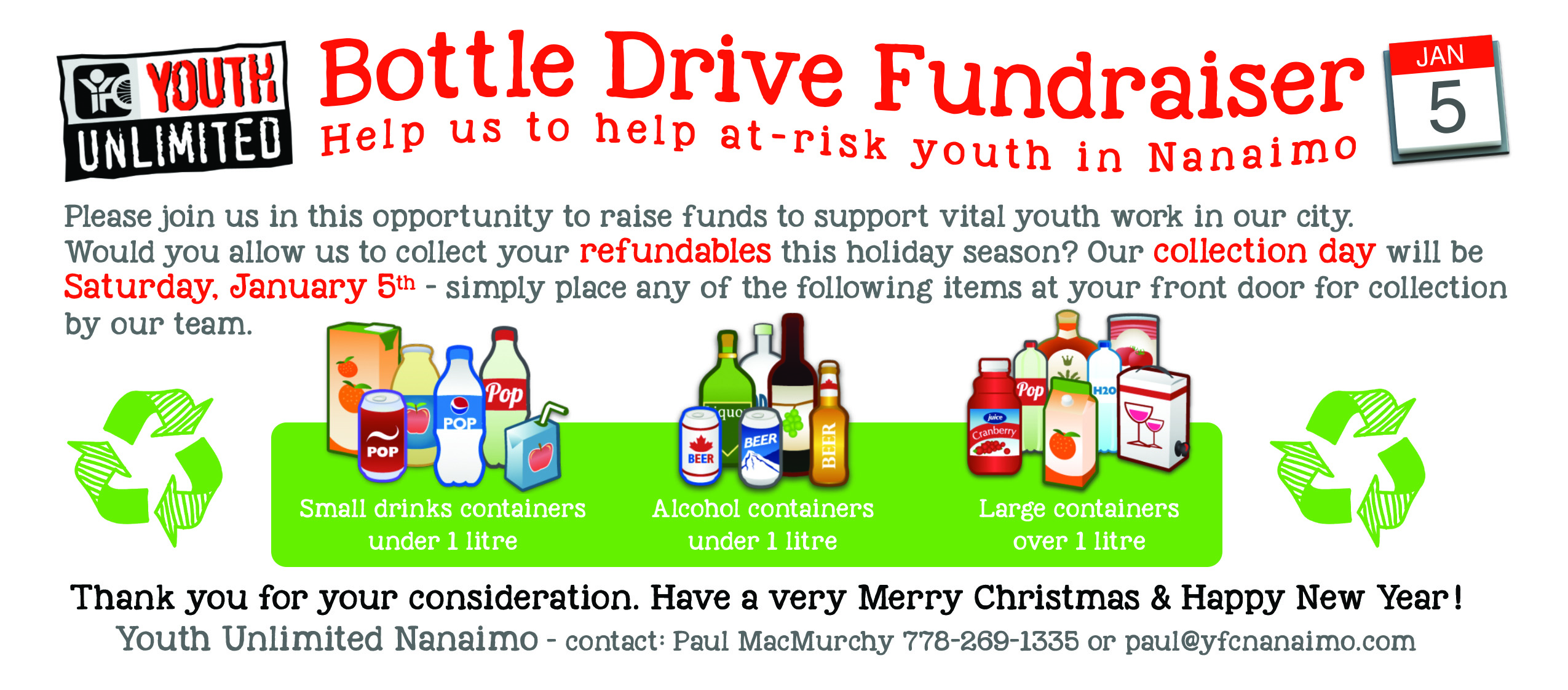 Bottle Drive Fundraiser for Youth Unlimited Nanaimo in Nanaimo on Saturday January 5th