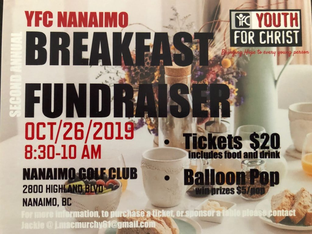 YFC Nanaimo Second Annual Breakfast Fundraiser 2019 flyer